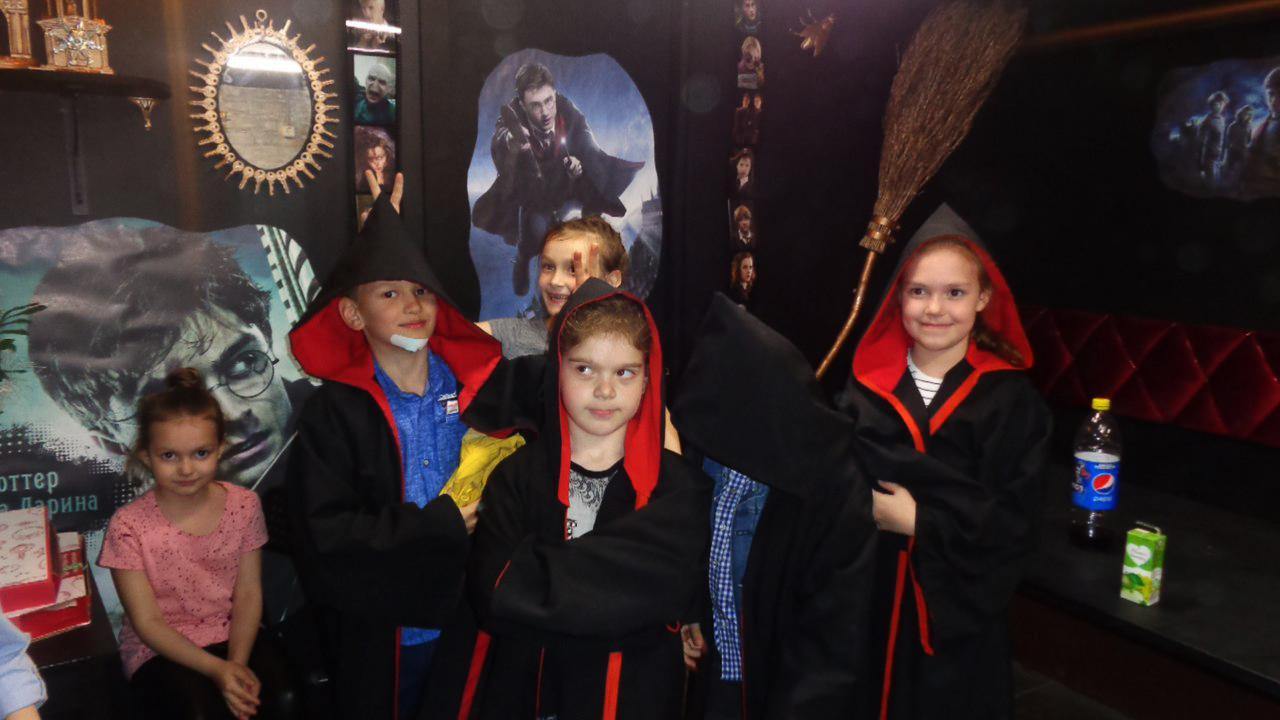 Детский День рождения в квестах Гарри Поттер на Ларина, в квесте Алиса, и в квесте Машина времени